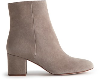 Reiss DELPHINE SUEDE BLOCK HEELED ANKLE BOOTS Grey