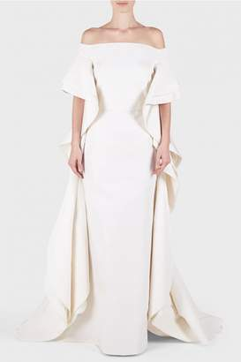 Christian Siriano Silk Off Shoulder Ruffle Cape Gown
