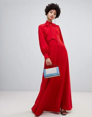 Warehouse maxi dress with pussybow tie in red