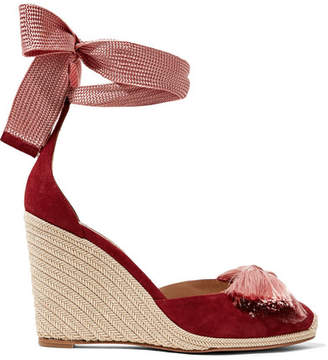 Aquazzura Lotus Blossom Fringed Bow-embellished Suede Wedge Espadrilles - Burgundy