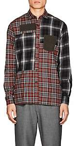Lanvin Men's Patchwork Plaid Cotton Flannel Shirt - Orange