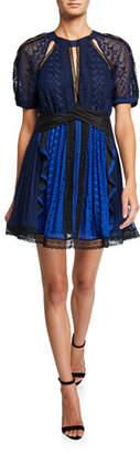 Self-Portrait Geometric Lace Short-Sleeve Mini Dress