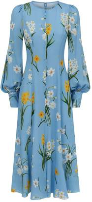 Andrew Gn Floral Balloon Sleeve Dress