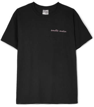 Double Trouble Gang - Trouble Maker Embroidered Cotton-jersey T-shirt - Black