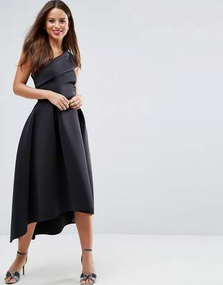 Asos One Shoulder Foam Scuba Dip Back Midi Skater Dress