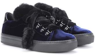 Tod's Fur-trimmed velvet sneakers
