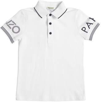 Kenzo Logo Printed Cotton Piqué Polo Shirt
