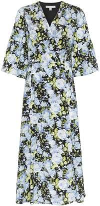 Les Rêveries floral print V-neck silk wrap dress