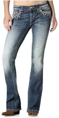 Miss Me Women's Braided Mid Rise Boot Cut Jean