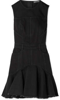 Alexander McQueen Frayed Denim Mini Dress - Black