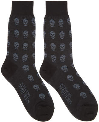 Alexander McQueen Black and Grey Short Skull Socks