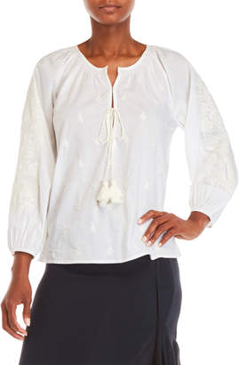 Figue Elisabella White Embroidered Top