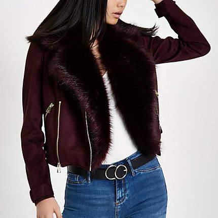 Womens Dark Red faux fur trim biker jacket
