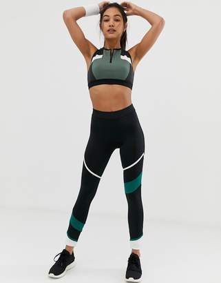 South Beach Panelled Legging In Black And Green