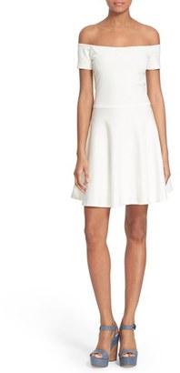Alice + Olivia 'Carisi' Off the Shoulder Fit & Flare Dress $275 thestylecure.com