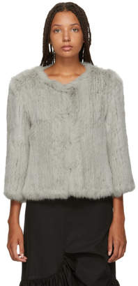Yves Salomon Grey Knitted Rabbit Jacket