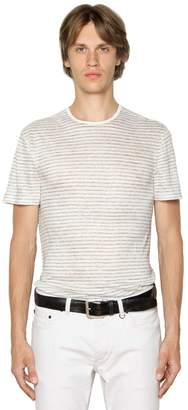 John Varvatos Striped Linen Jersey T-Shirt