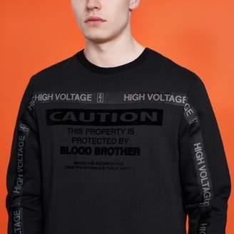 River Island Black Blood Brother 'caution' tape sweatshirt