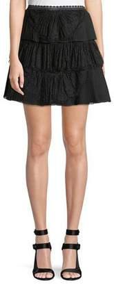 Alice + Olivia Iggy Pleated Lace Mini Skirt