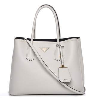 Prada Cuir Double Tote Saffiano Medium Talco Off White