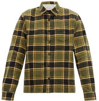 Officine Generale Sol Checked Slubbed Cotton Twill Overshirt - Mens - Yellow Multi