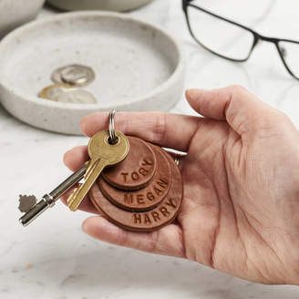 Posh Totty Designs Creates Personalised Family Names Leather Keyring