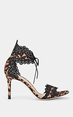 Gianvito Rossi Women's Leopard-Print Satin & Lace Sandals - Brown