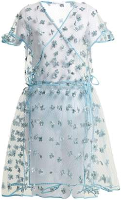 CECILIE BAHNSEN Aida floral-embellished sheer wrap dress