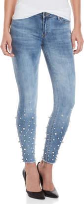 Bebe Faux Pearl Skinny Jeans