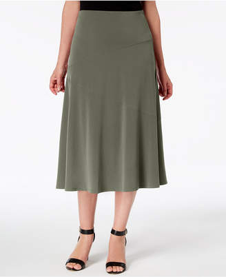 JM Collection Petite Diagonal-Seam Midi Skirt