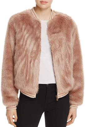Mother The Letterman Faux Fur Bomber Jacket