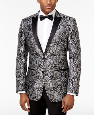Tallia Men's Slim-Fit Black/Silver Paisley Dinner Jacket $350 thestylecure.com