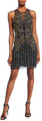 Aidan Mattox Beaded Sleeveless Jewel-Neck Short Shift Dress