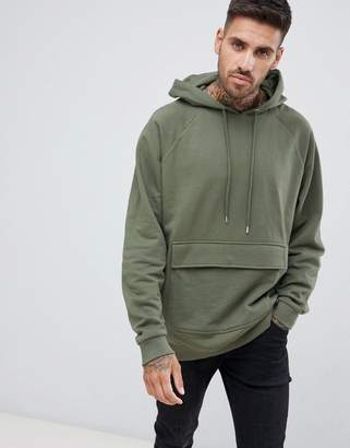 Asos DESIGN oversized hoodie in khaki with map pocket