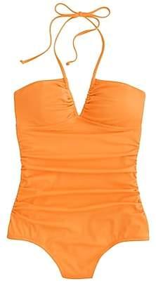 J.Crew Neon ruched halter one-piece swimsuit