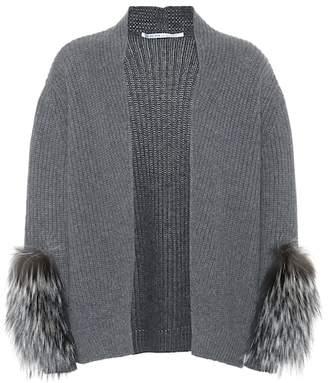 Agnona Fur-trimmed cashmere cardigan