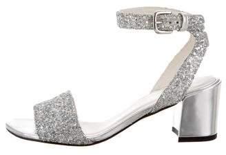 Stuart Weitzman Ankle Strap Glitter Sandals