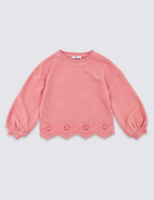 Marks and Spencer Cotton Rich Broderie Sweatshirt (3-16 Years)