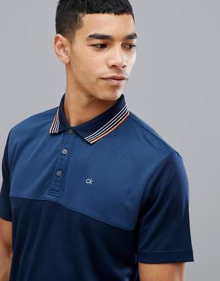 Calvin Klein Golf Performance Polo In Waffle In Navy C9301