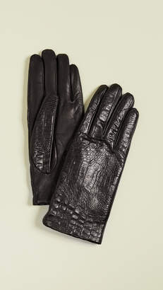 Carolina Amato Croc Leather Gloves
