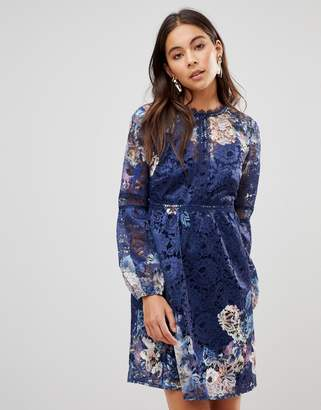 Little Mistress All Over Floral Lace Smock Dress With Bell Sleeve