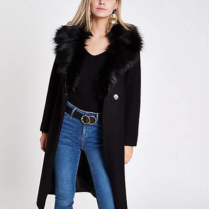 Womens Petite Black faux fur trim belted wool coat