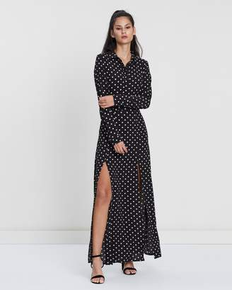 Missguided Polka Dot Front Split Maxi Dress