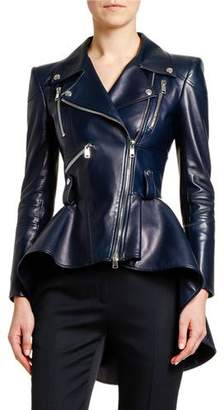 Alexander McQueen Leather Fit & Flare Biker Jacket