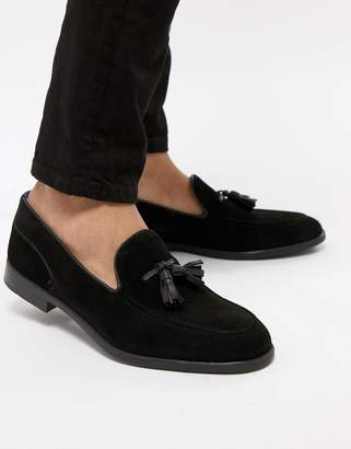 H By Hudson Aylsham Suede Loafers In Black