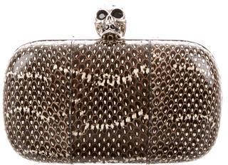 Alexander McQueenAlexander McQueen Snakeskin Skull Box Clutch
