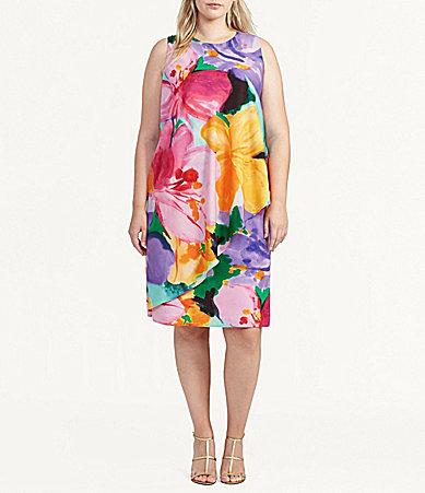 Lauren Ralph LaurenLauren Ralph Lauren Plus Floral-Print Crepe Dress