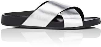Barneys New York Women's Crisscross-Strap Metallic Leather Slide Sandals