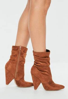 Missguided Tan Ruched Cone Heel Ankle Boots
