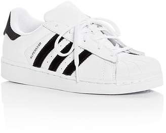 adidas Unisex Superstar Leather & Velvet Lace Up Sneakers - Toddler, Little Kid